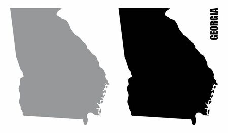 Georgia State silhouette maps isolated on white background
