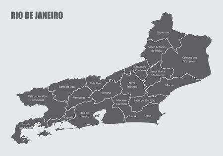 The Rio de Janeiro State map divided into regions with labels