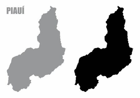 Piaui State silhouette maps isolated on white background  イラスト・ベクター素材