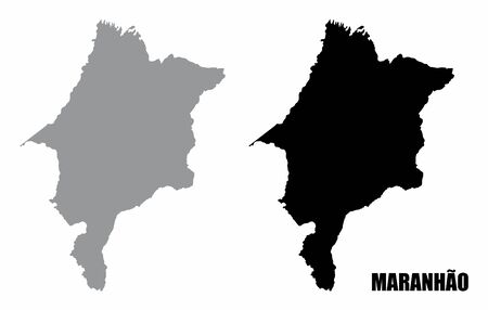 Maranhao State silhouette maps isolated on white background