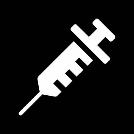 A black and white Syringe icon illustration