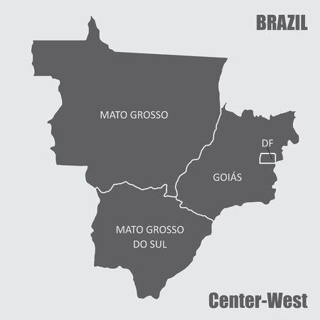 Map of the Brazil center-west region isolated on white background