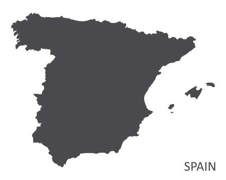 Spain silhouette map isolated on white background