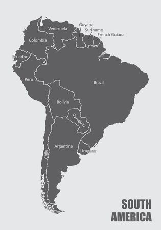 The South America map with countries borders and labels