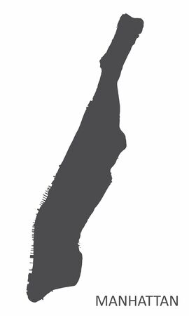 Manhattan silhouette map isolated on white background
