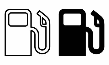 A set of black and white fuel icons