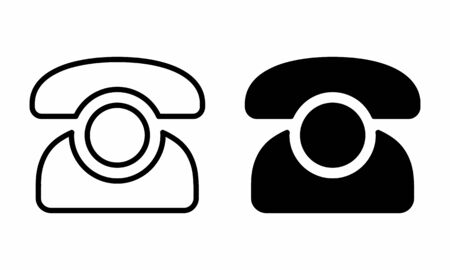 A set of black and white Telephone icons