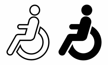 A set of black and white Disabled wheelchair icons