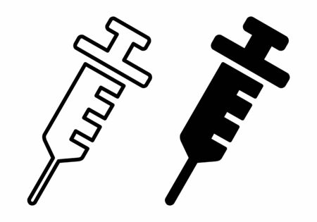 A set of black and white Syringe icons Çizim