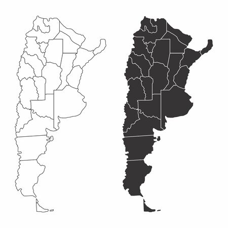 A set of black and white Argentina provinces maps  イラスト・ベクター素材