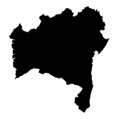 Bahia State dark silhouette map isolated on white background, Brazil