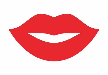 Red Female mouth icon isolated on white background 向量圖像