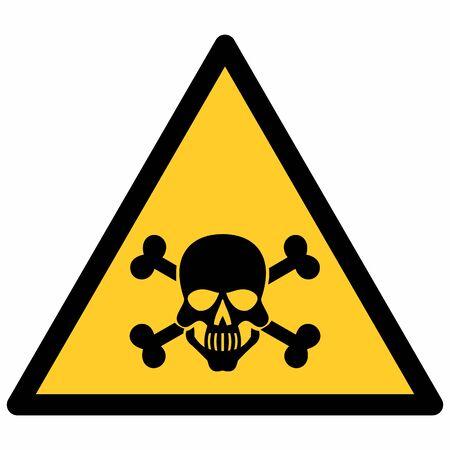 Poison hazard sign isolated on white background