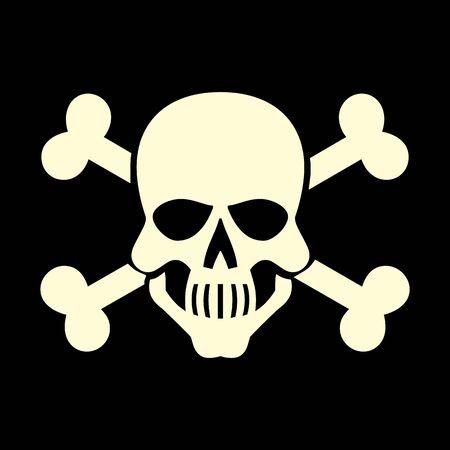 White skull icon isolated on dark background
