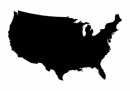 USA dark silhouette map isolated on white background