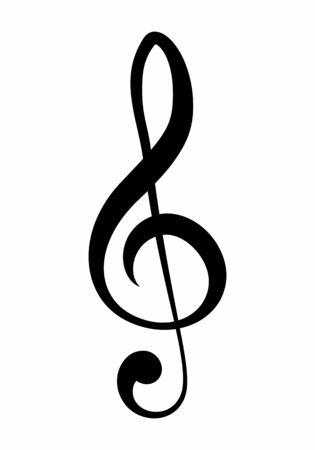 Treble clef symbol isolated on white background