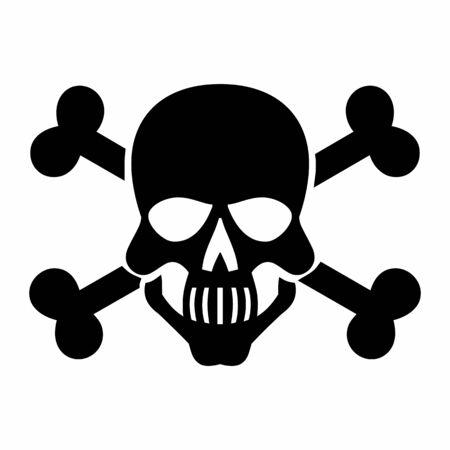 Black skull icon isolated on white background