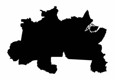 Brazil North dark silhouette map isolated on white background, Brazil