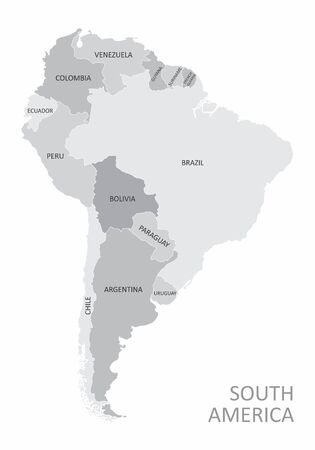 Gray South America map with the countries labels Ilustração