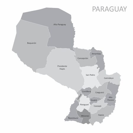 The Paraguay map divided into regions with labels Çizim
