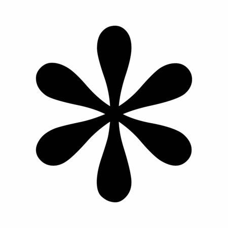 Black asterisk symbol isolated on white background