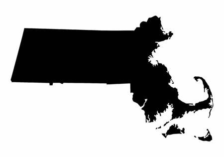 Massachusetts dark silhouette map isolated on white background