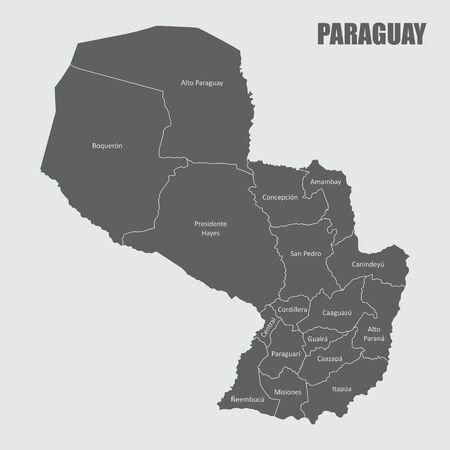 The Paraguay map divided into regions with labels Illustration