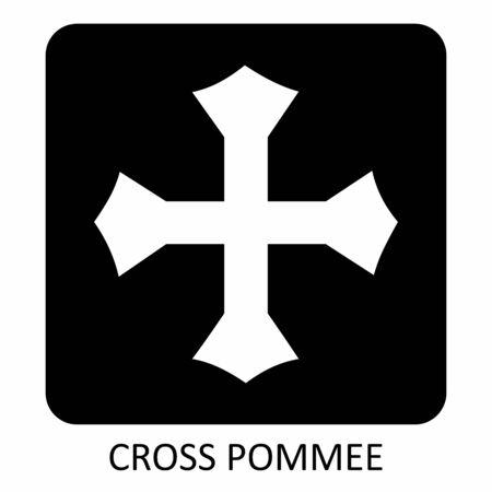 The black and white Cross Pommee icon illustration Illustration