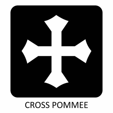 The black and white Cross Pommee icon illustration 일러스트