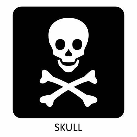 A black and white Skull icon illustration