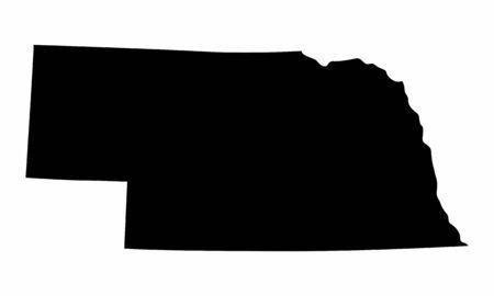Nebraska State dark silhouette map isolated on white background