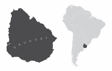 The Uruguay map and its location in South America
