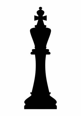 Chess king dark silhouette isolated on white background