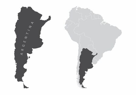 The Argentina map and its location in South America