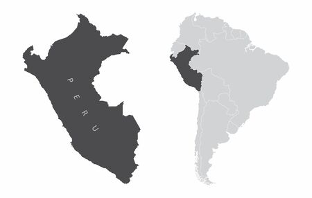The Peru map and its location in South America
