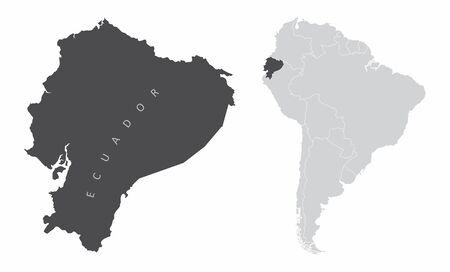 The Ecuador map and its location in South America Ilustração