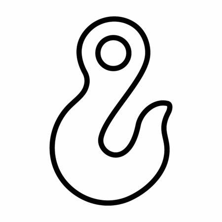 Crane hook icon illustration. Black outline on white background. Banque d'images - 131154147