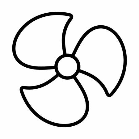 Fan icon illustration. Black outline on white background. Ilustração