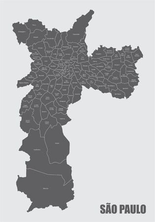 The Sao Paulo city gray map divided into districts with labels, Brazil