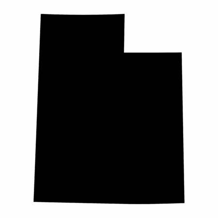 Utah State dark silhouette map isolated on white background Illusztráció