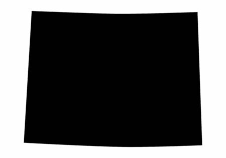Wyoming State dark silhouette map isolated on white background