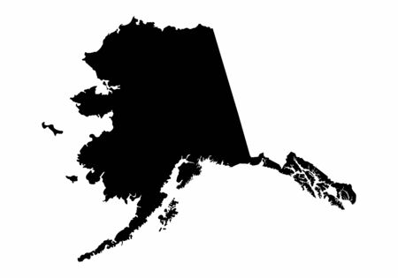 Alaska dark silhouette map isolated on white background