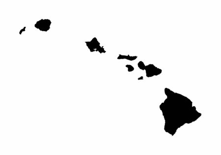 Hawaii dark silhouette map isolated on white background