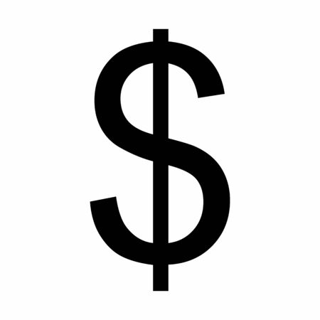 Black Dollar sign illustration on white background Ilustração