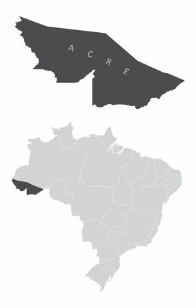 The Acre State map and its location in Brazil