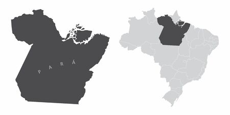 The Para State map and its location in Brazil 일러스트
