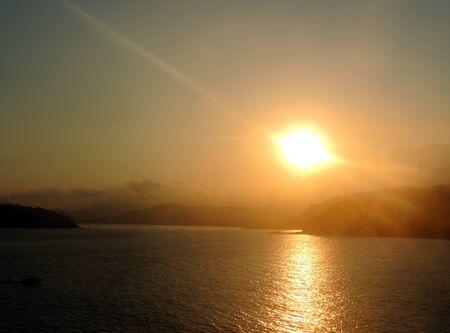 Beautiful sunset on the beach of Caraguatatuba, north coast of the state of Sao Paulo, Brazil