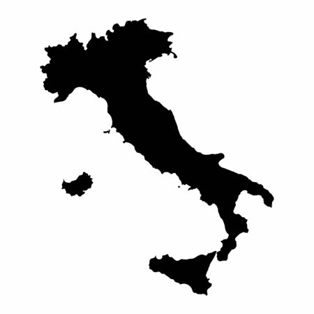 Italy dark silhouette map isolated on white background