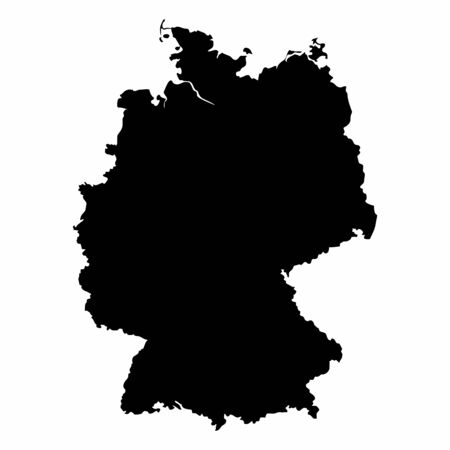 Germany dark silhouette map isolated on white background