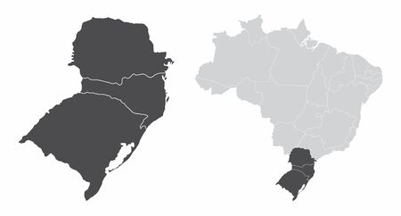 The South Region map and its location in Brazil Çizim